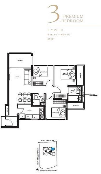 The Linq 3P Bedroom Floor Plan