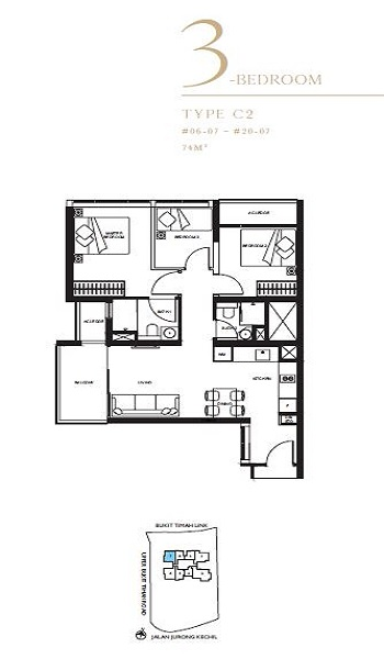 The Linq 3a Bedroom Floor Plan