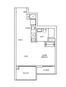 Treasure@Tampines 1 Bedroom Floor Plan