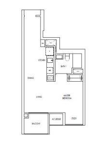 Treasure@Tampines 1+study Bedroom Floor Plan
