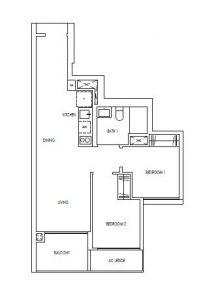 Treasure@Tampines 2 Bedroom Floor Plan