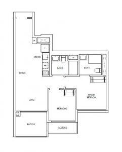 Treasure@Tampines 2 Premium Bedroom Floor Plan