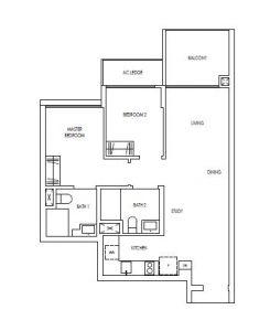 Treasure@Tampines 2+study Bedroom Floor Plan