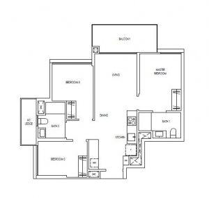 Treasure@Tampines 3 Bedroom Floor Plan