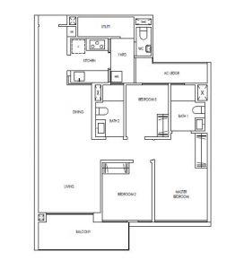 Treasure@Tampines 3 Premium Bedroom Floor Plan