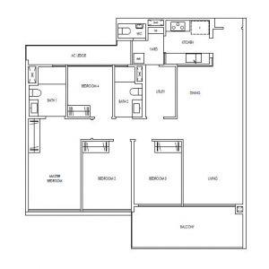 Treasure@Tampines 4 Premium Bedroom Floor Plan